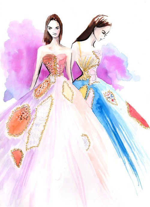 Viktor and Rolf Spring Couture 2017 Fashion Illustration by Stephanie Anne www.stephanieanne.ca
