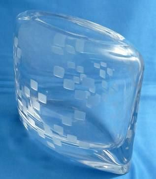 "Pillow vase with etched square pattern 6.25"" high"