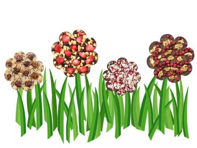 Stwórz własną czekoladową łąkę. Zaprojektuj tabliczkę z kształcie kwiatka. Określ smak, dodaj dodatki i wybierz opakowanie.