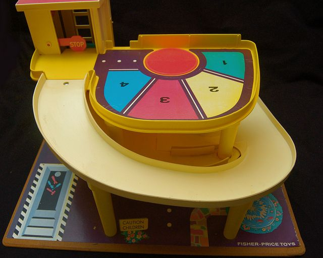 Vintage fisher price garage - can't you just hear that bell on the elevator as you turn the crank now?!