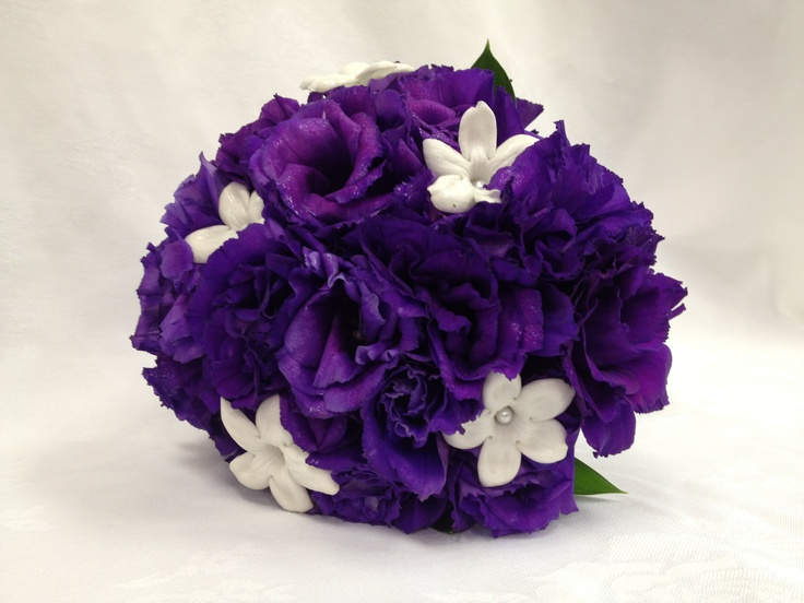 Dark Purple Lisianthus With Stephanotis Bridal Bouquet