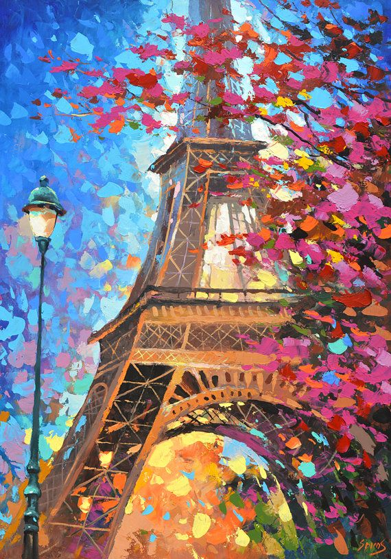 Paris autumn  Oil Palette Knife Painting on Canvas by by spirosart