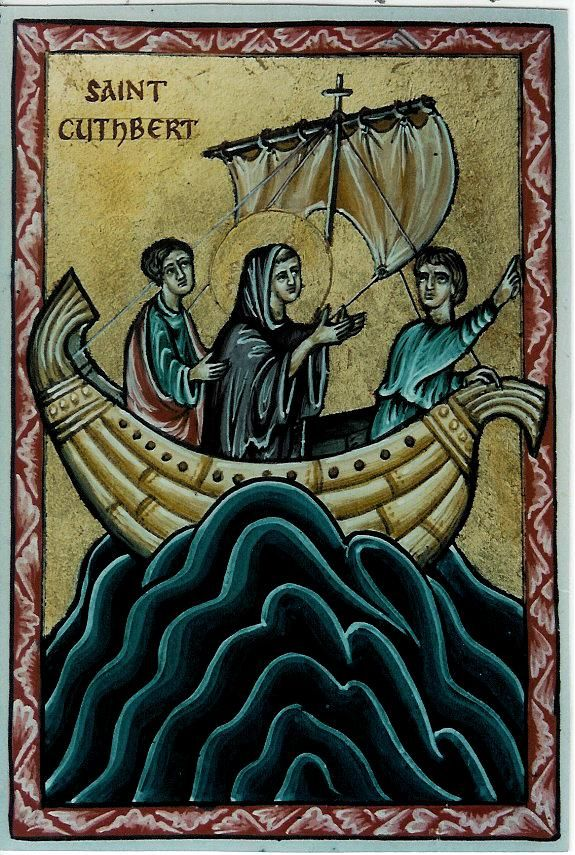 St. Cuthbert (in boat) - Aidan Hart Sacred Icons