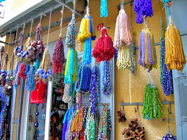 In Izmir, there is a old bazaar called Kemeraltı.  Always very crowded and noisy bazaar. This shop sells all kind of beads and little bells to embellish horses and donkeys.