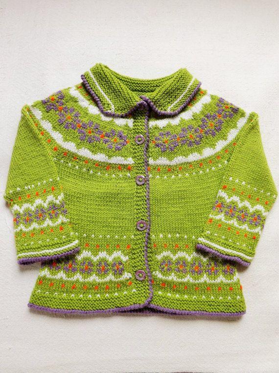 Knit baby jacket Baby girls jacket Icelandic jacket Easter gift Green baby jacket Merino wool jacket Girls jacket Fair isle cardigan