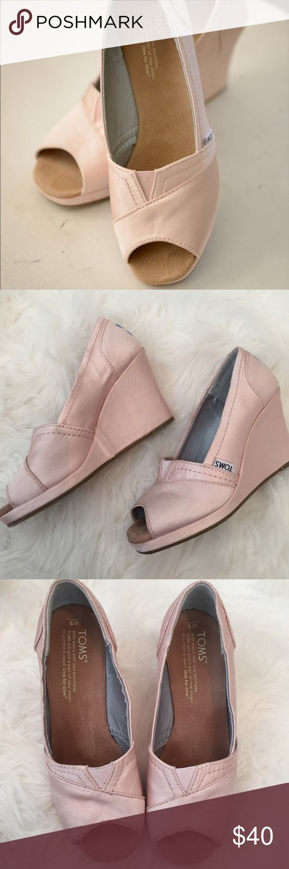 Blush Pink TOMS Wedges Super cute TOMS open-toe blush pink wedges. Worn 1x for a day. Worn for a wedding- so comfy! TOMS Shoes Wedges