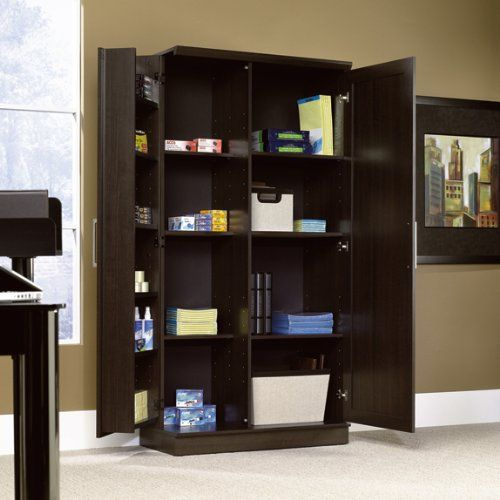 300 Large Double Door Storage Cabinet Dakota Oak Finish Free Standing