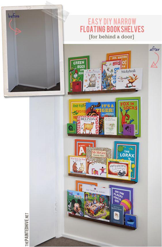 easy diy narrow bookshelves for behind the door