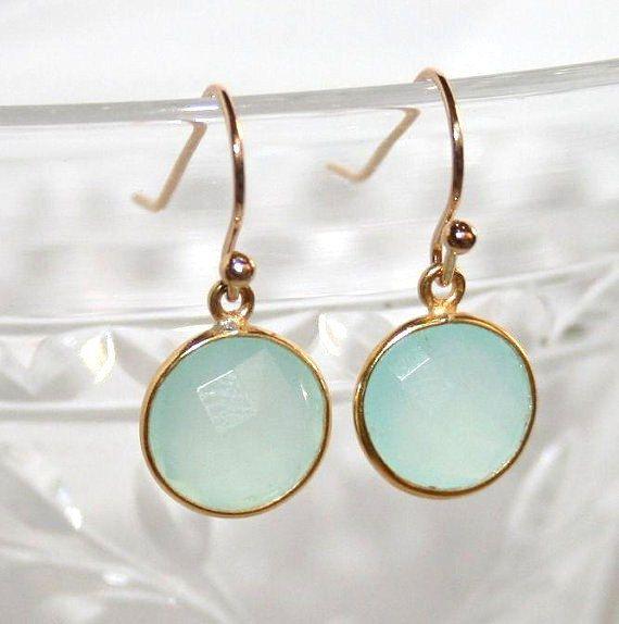 Aqua Chalcedony Earrings,Gemstone Earring,Beach Wedding,Mint Stone Jewelry,Seafoam Earrings,Mint Drop Vermeil Earrings,Mint Blue Earrings