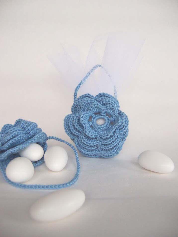 sacchetti uncinetto per bomboniere borsetta fiore azzurro | Надо ...