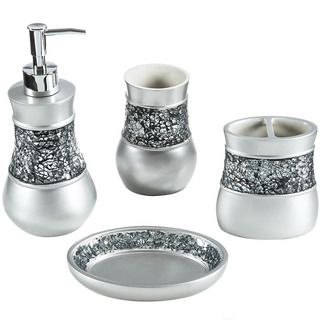 silver crackle glass bathroom accessories. A crackled glass band lines the toothbrush holder  tumbler soap dish and lotion dispenser of this bath accessory set to brighten your bathroom decor 123 best Home Decor Bathroom Vanity Accessories images on Pinterest