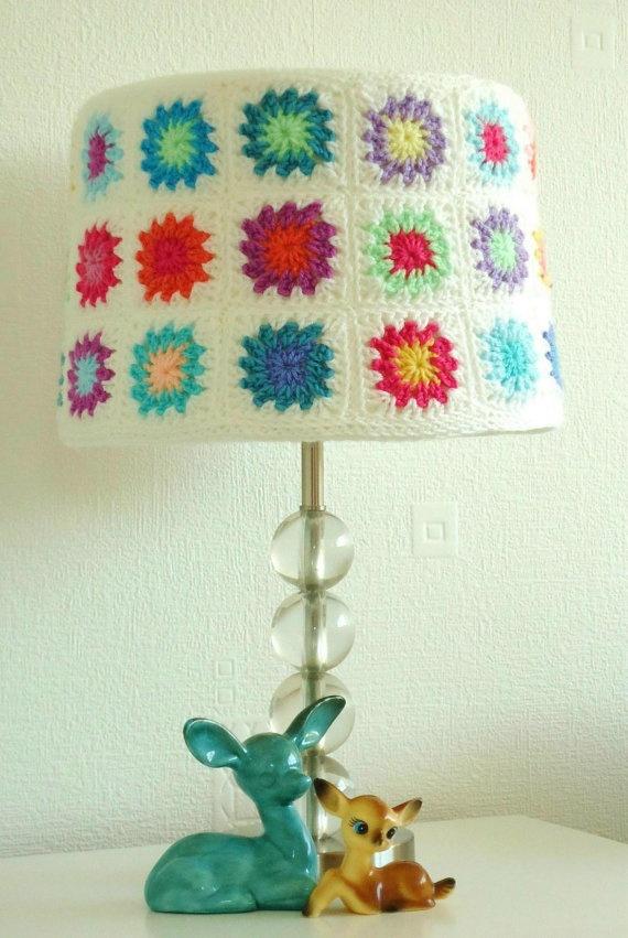 Granny square lamp shade.
