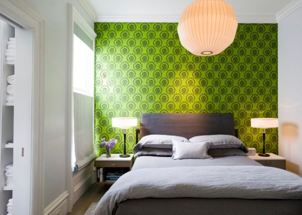 bedroom with green accent walls