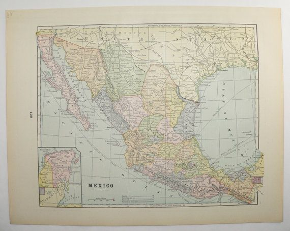 Mexico Map Central America Vintage Map 1894 Latin America Map, Antique Art Map to Frame, Genealogy Gift, For the Home, Gift for Office by OldMapsandPrints on Etsy