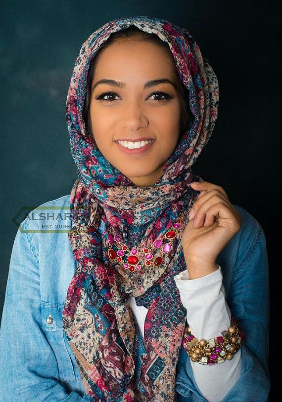Intricate Scarf Design  Shawl  Muslim Hijab  66 x 25  by Hi5Hijab