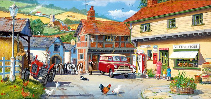 Tea at the Farm by Derek Roberts 500 piece jigsaw puzzle Canada | CanadaPuzzles.ca