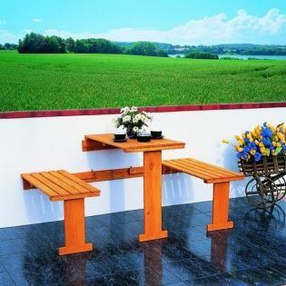 Opklapbare balkonset (tafeltje + bankjes) - Gratis levering!