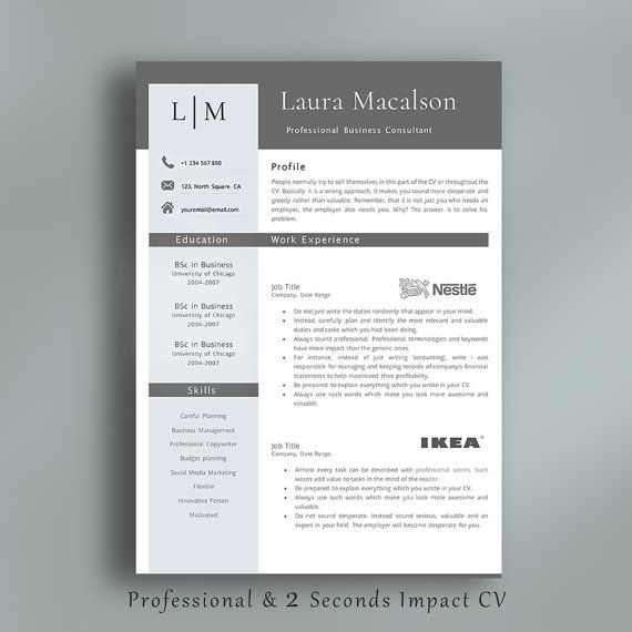 Professional Resume Template  Creative Resume Template with Logos for Work Experience. CV Template + Cover Letter + Additional References Page by AvataDesigns