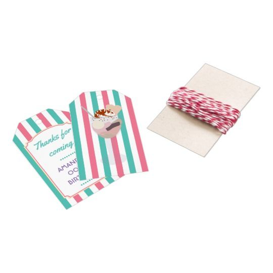 Ice Cream Birthday Party personalized Thank You Gift Tags