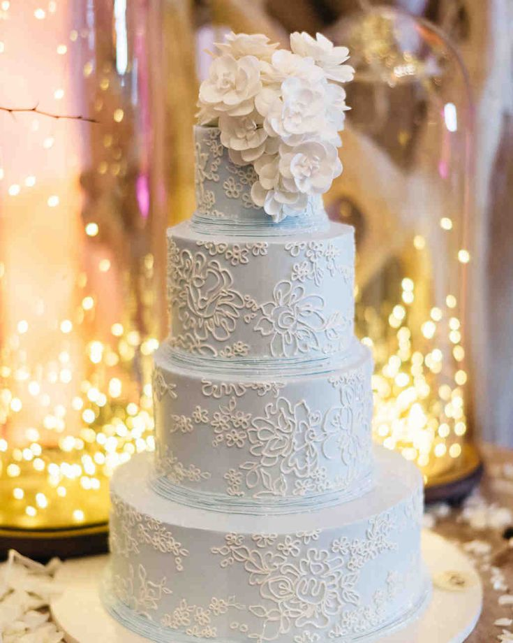 Lace-Inspired Pastel Wedding Cake