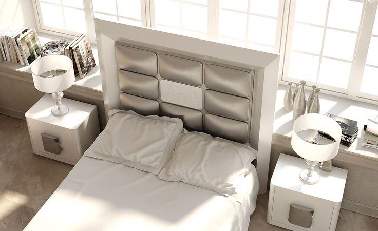 Cabecero blanco y plata perteneciente a la colección Krystal de dormitorios