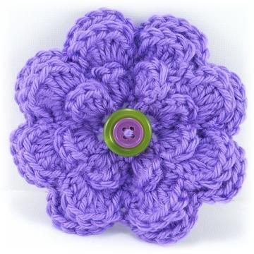 Purple Crocheted Eight Petal Flower by BlackCreekCrossing for $7.00