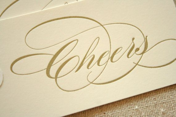 Cheers Letterpress Gift Tags Set Of 3
