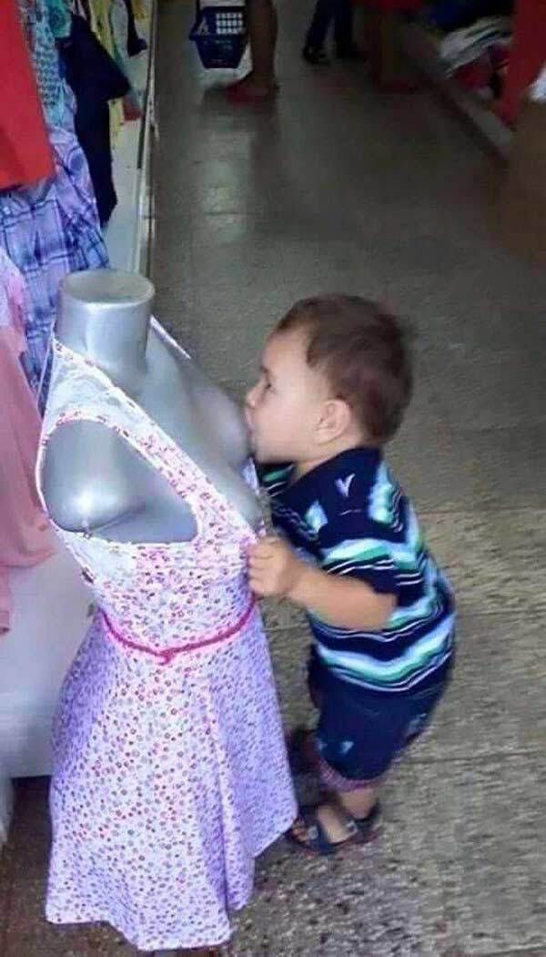 Funny baby breast feeding from mannequin ~ Funny Pics & Memes