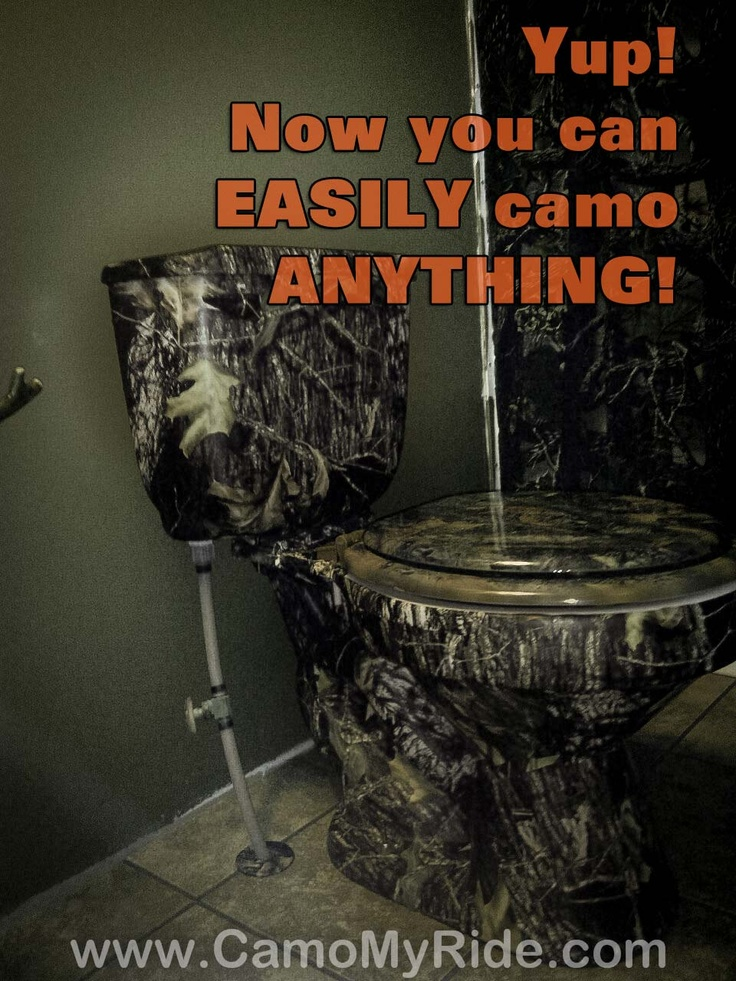 EASY TO DO!! Camo Anything with our amazing vinyl wrap materials. It is amazing what our Customer's wrap! Guess nothing is off limits any more Darlin...!! It's a Men's room, but I am sure there are some ladies that will love this too. Camo vinyl, available in 50 camo patterns now! www.CamoMyRide.com