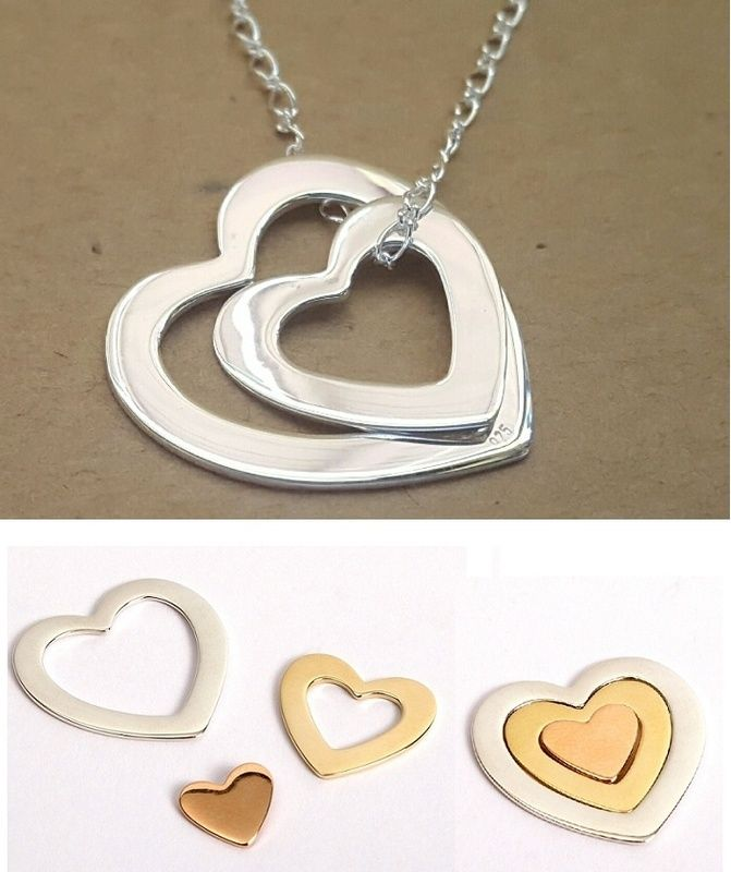 Pendant Charm - NESTING HEARTS - Sterling Silver or 9ct Gold