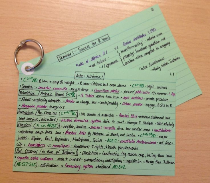 aemiliana-studies: All of my notes for week 1 of 12 of my Roman Law module done! I punched a hole in the cards and put them on a binding ring to keep them together and to make revising them easier. My colour coding: Green text - dates Pink text - Latin/definitions Purple text - ancient texts Green cards - general/background info Pink cards - law of persons Blue cards - law of property and inheritance Yellow cards - law of obligations