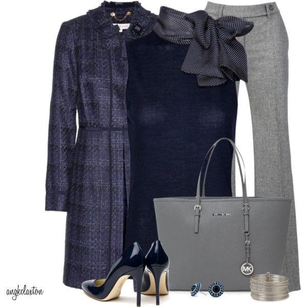 Navy Bow Top and Heels, created by angkclaxton on Polyvore