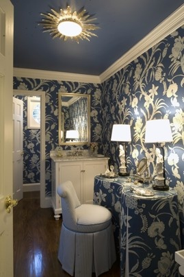 Blue and white wallpaper in the old Bush home, via Washington Post