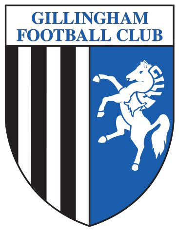 """A shield with the words """"Gillingham Football Club"""" in the top portion and the remainder divided into two sections, the left containing black and white vertical stripes and the right a depiction of a white horse rearing up on its hind legs on a blue background"""