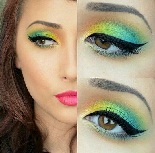 Maquillaje azul amarillo y verde