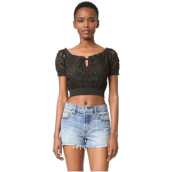 Temptation Positano Short Sleeve Crop Top ($230) ❤ liked on Polyvore featuring tops, black, smock top, puff sleeve top, off shoulder tops, short sleeve crop top and smocked top