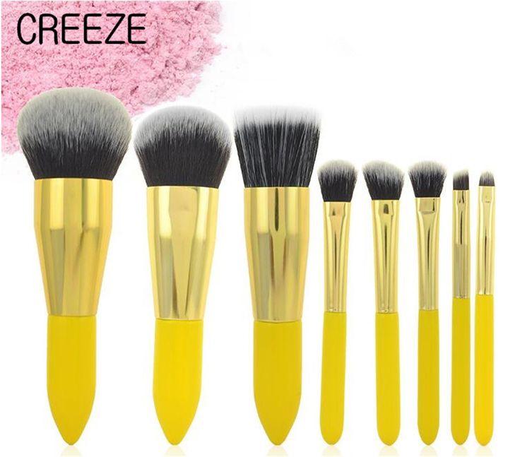 12.77$  Watch here - http://aliuw8.shopchina.info/go.php?t=32809001050 - CREEZE New 8PCS Lemon Yellow Makeup Brush Sets Profession Wool Fiber Wood Handle Foundation Blush Eye Shadow Lip Brush 12.77$ #buyonlinewebsite