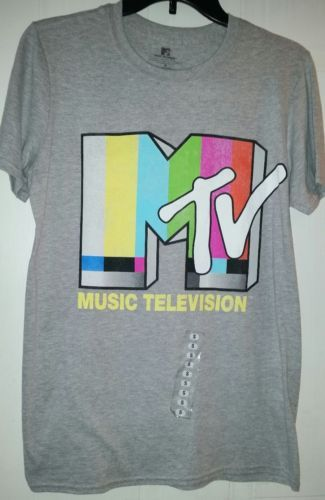MTV Music Television New Retro Grey T Shirt adult small Officially Licensed