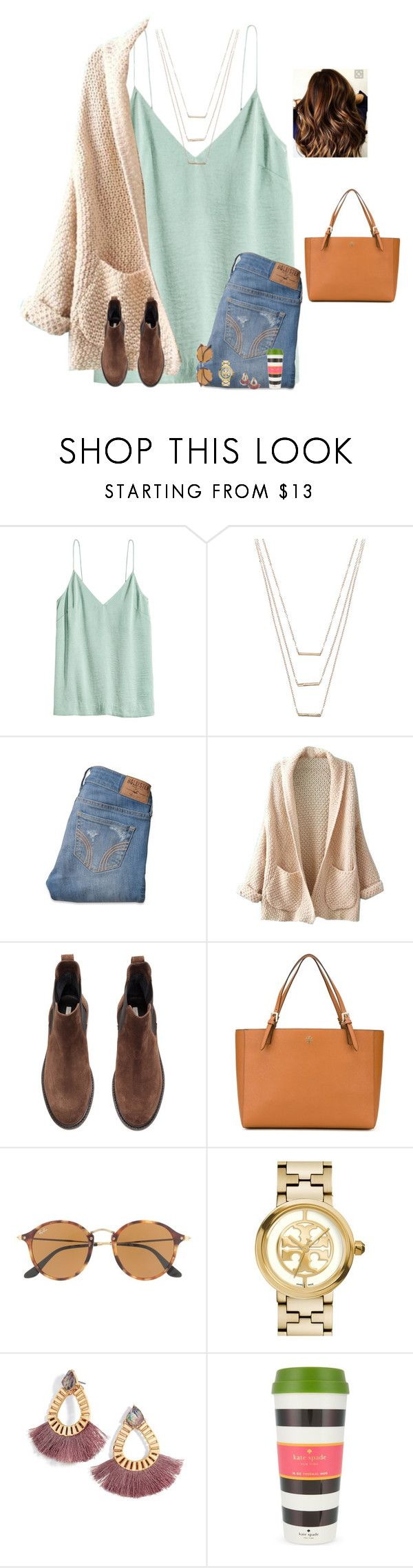 """If I follow you on Spotify, I probs stalk your playlists‍♀️"" by raquate1232 ❤ liked on Polyvore featuring H&M, ERTH, Hollister Co., WithChic, Tory Burch, Ray-Ban and Kate Spade"