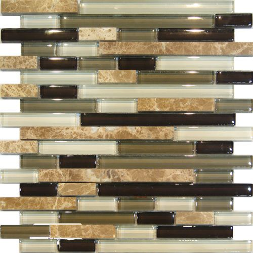 marble green brown glass linear mosaic tile in stock 1499sf - Stein Backsplash Ideen Fr Die Kche