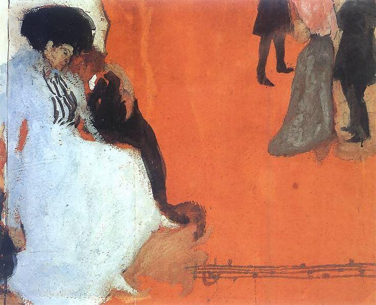 Scena alegoryczna.   1908. Akwarela i gwasz na papierze. 50 x 40 cm.   Muzeum Narodowe, Poznań.