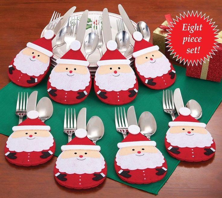 Christmas Festive Color Whimsical Santa Silverware Holders Table Decor Set of 8  #Silverware #Holders #Table #TableDecor #Decor #Whimsical #FestiveColor #Festive #ChristmasDecor #Christmas #WhimsicalSanta