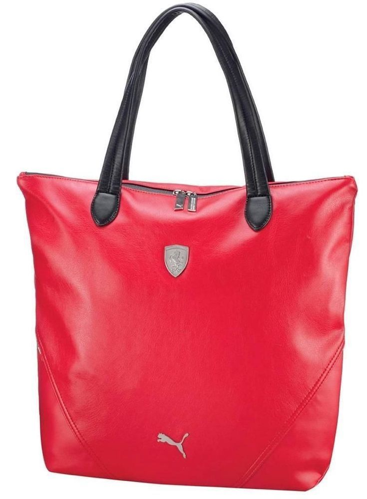 PUMA FERRARI WOMEN S F1 TEAM SHOPPING TOTE LARGE BAG RED PMMO1033 NEW W   DEFECTS e1017401a