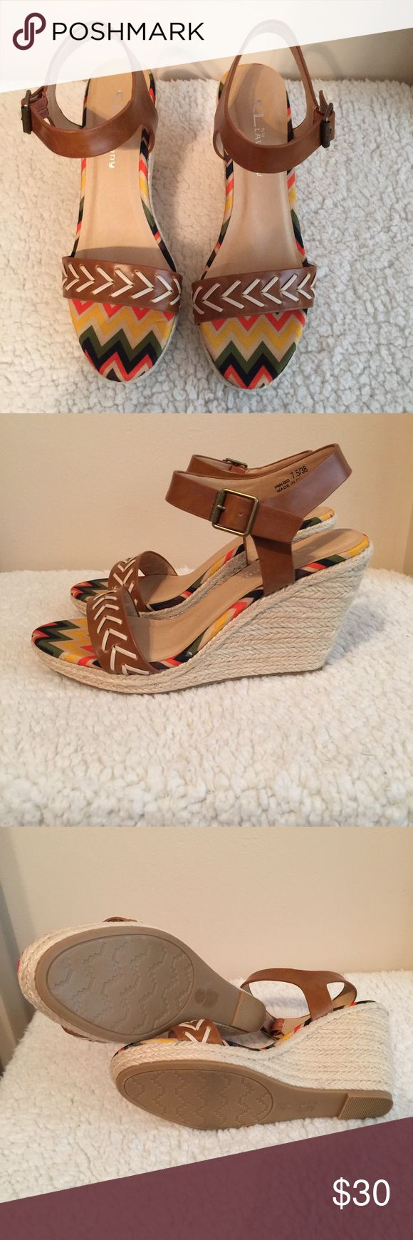 Wedges CL by Laundry Tribal pattern Wedges. Super comfortable to wear all day! NIB! CL Shoes Wedges