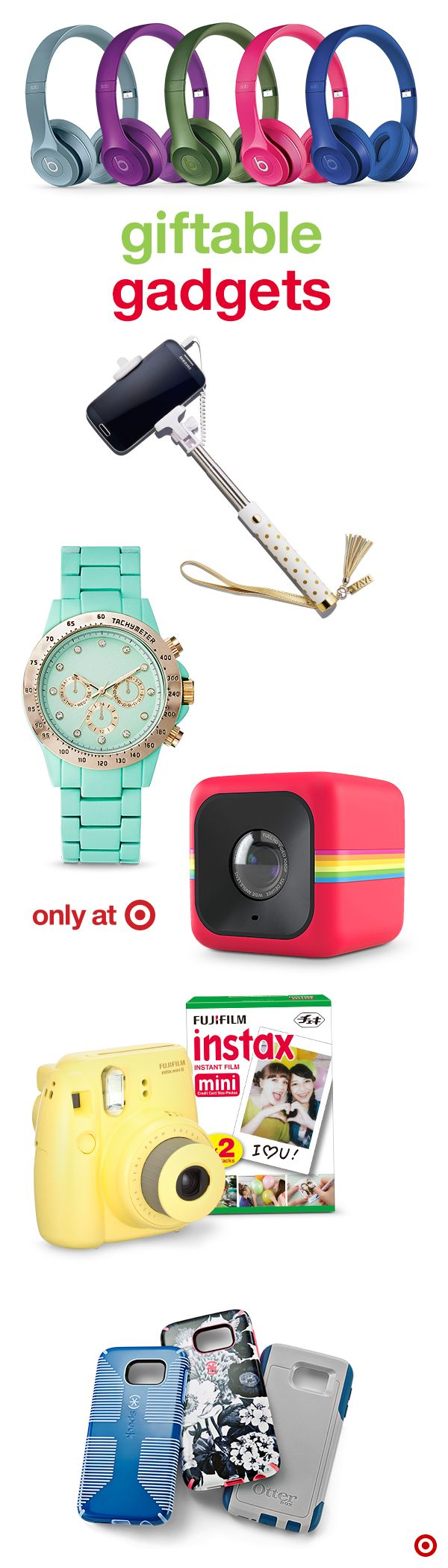 What gifts will teens totally love? Anything electronic, really. Up the cool factor with Christmas gifts that are a surefire hit—from cell phone accessories like protective covers and selfie sticks (available with fun characters like Hello Kitty and Teenage Mutant Ninja Turtles), to digital camcorders and a nod to the retro instant film camera. Start checking off that gift list!