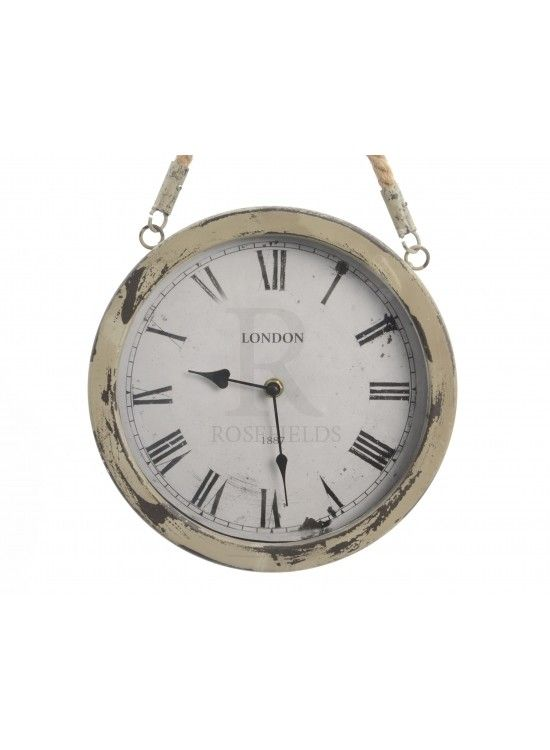 Iron Clock w Rope Handle Grey 25cm @ rosefields.co.uk chic_boutique_homeware £19.99