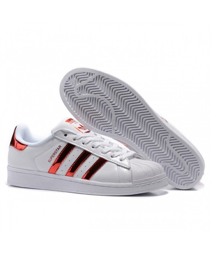 new product 3190d a7e74 Adidas Superstar Junior White Metallic Red Trainers
