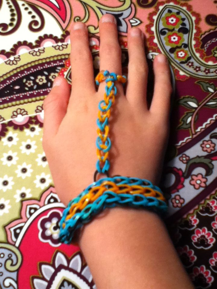 Rainbow Loom Bracelet With A Finger Ring Triple