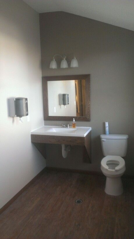 Handicap Church Restroom, With Handmade Vanity And Mirror Frame
