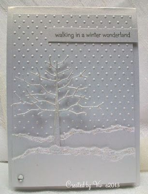 handmade Winter card from Viv's Visuals ... diecut twiggy tree ... torn edg snow banks ... dot embossing folder texture ... beautiful card!!
